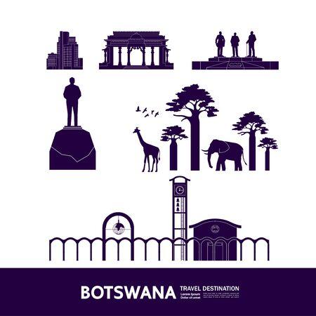 Botswana travel destination grand vector illustration. 向量圖像