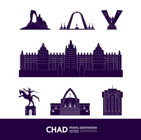 Chad travel destination grand vector illustration.