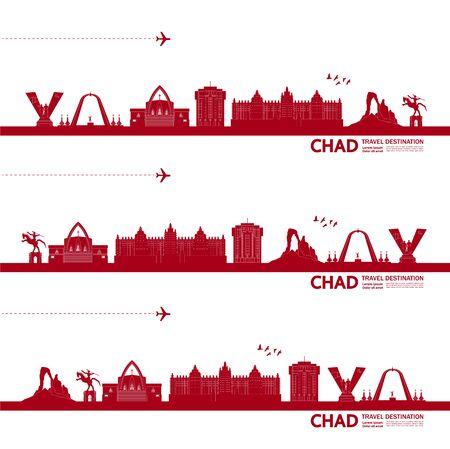 Chad travel destination grand vector illustration. Vektorové ilustrace