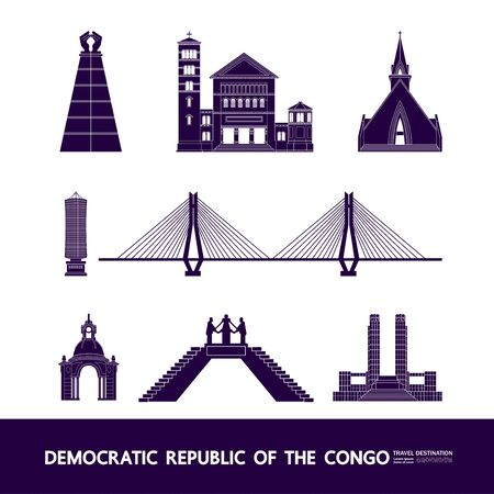 Democratic Republic of the Congo travel destination grand vector illustration. Çizim