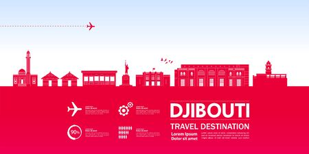 Djibouti travel destination grand vector illustration. Çizim