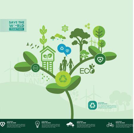 Red de wereld samen groene ecologie vectorillustratie. Vector Illustratie