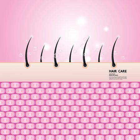 Problema del cabello y protección y cuidado del cabello concepto de tecnología ilustración vectorial. Ilustración de vector