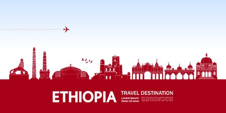 Ethiopia travel destination grand vector illustration. Çizim