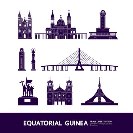 Equatorial Guinea travel destination grand vector illustration. Çizim