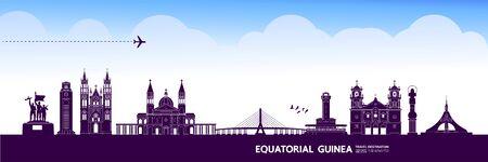 Gran ilustración de vector de destino de viaje de Guinea Ecuatorial. Ilustración de vector