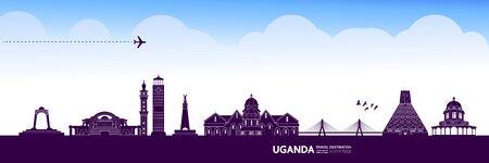 Uganda travel destination grand vector illustration.