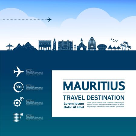 Mauritius travel destination grand vector illustration.