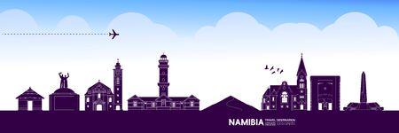 Namibia travel destination grand vector illustration.