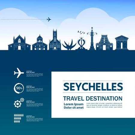 Seychelles travel destination grand vector illustration.