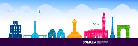 Somalia travel destination grand vector illustration. Vector Illustratie