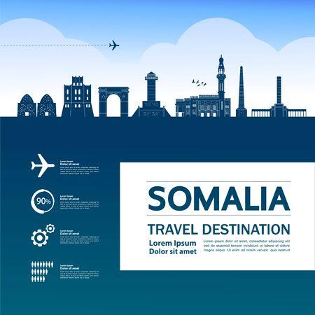Somalia travel destination grand vector illustration.