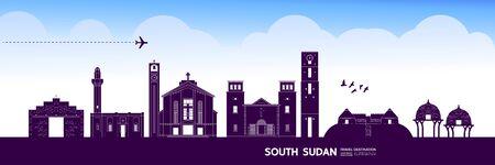 South Sudan travel destination grand vector illustration.