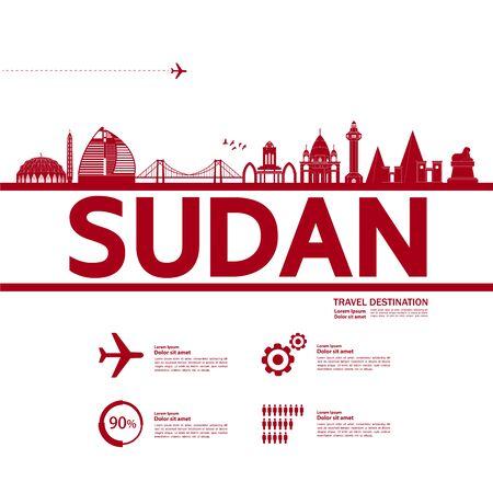 Sudan travel destination grand vector illustration.