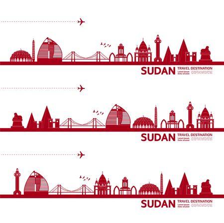 Sudan travel destination grand vector illustration. Vetores
