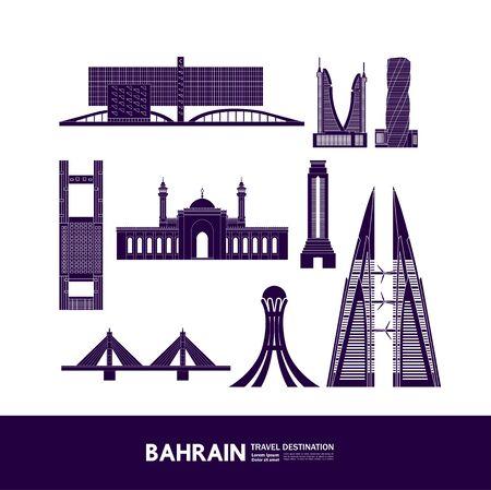 Bahrain travel destination grand vector illustration.