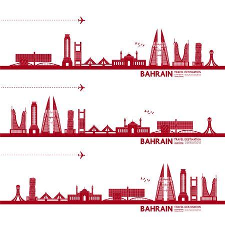 Bahrain travel destination grand vector illustration. Vecteurs