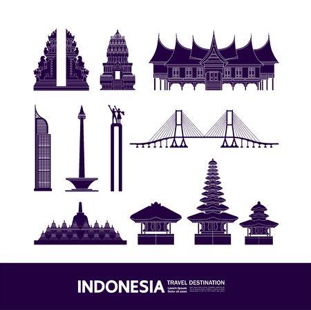 Indonesia travel destination grand vector illustration. Vektoros illusztráció