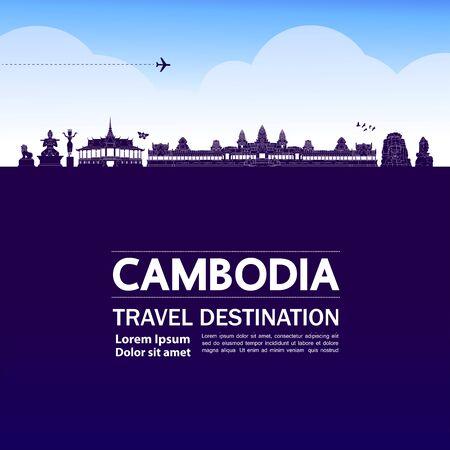 Cambodia travel destination grand vector illustration.
