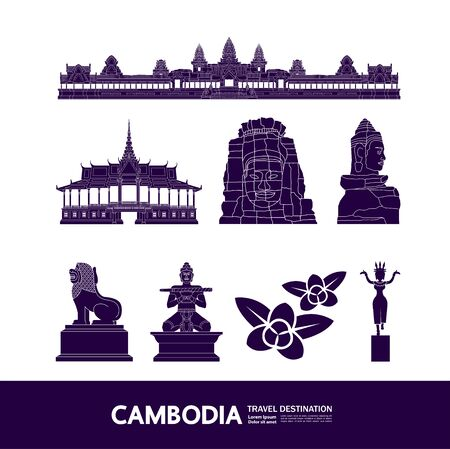Cambodge voyage destination grande illustration vectorielle.