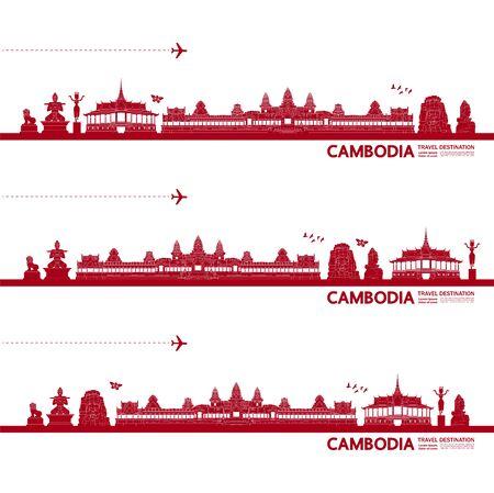 Cambodge voyage destination grande illustration vectorielle. Vecteurs