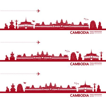 Cambodia travel destination grand vector illustration.