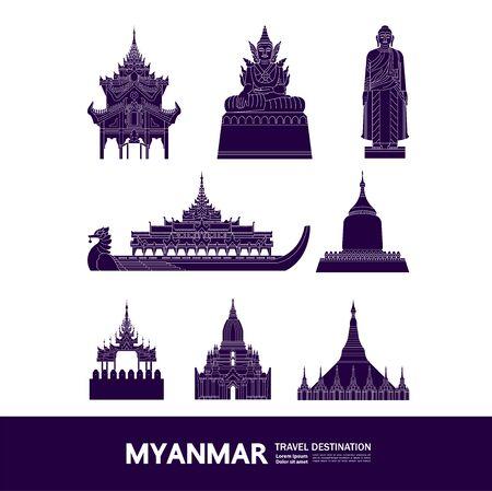 Myanmar travel destination grand vector illustration.