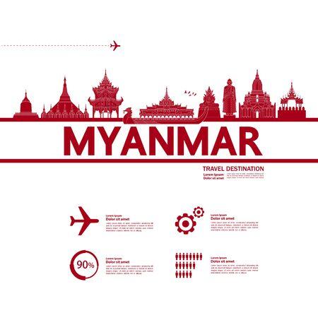 Myanmar travel destination grand vector illustration.  イラスト・ベクター素材