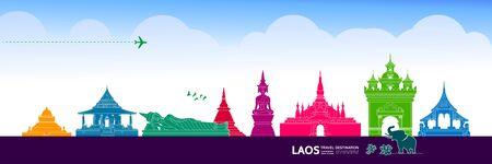 Laos travel destination grand vector illustration.  イラスト・ベクター素材