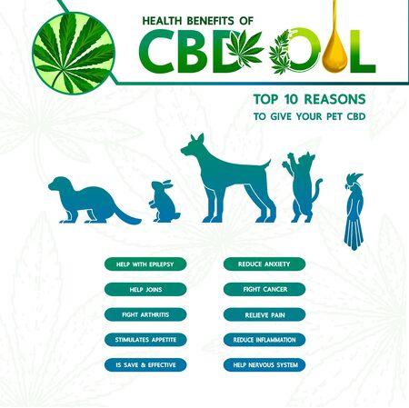 Cannabis benefits for pet health vector illustration.