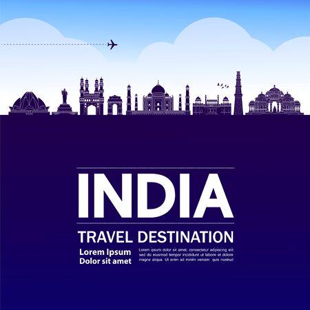 India travel destination grand vector illustration.