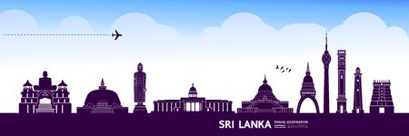 Sri Lanka travel destination grand vector illustration.