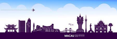 Macau travel destination grand vector illustration.