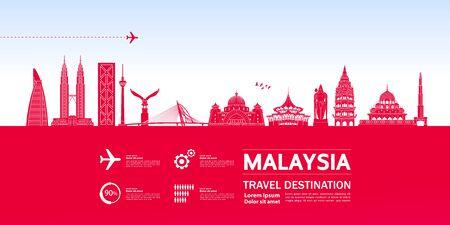 Malaysia travel destination grand vector illustration.