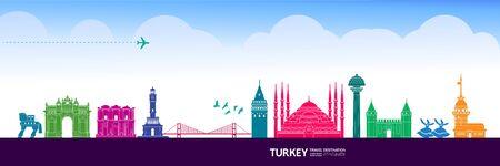Turkey travel destination grand vector illustration.  イラスト・ベクター素材