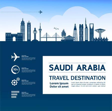 Saudi Arabia travel destination grand vector illustration.
