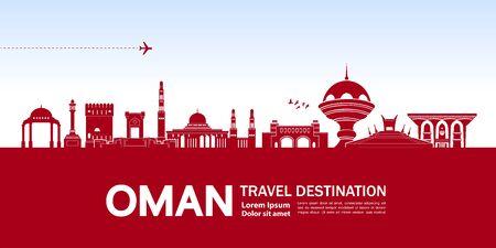 Oman travel destination grand vector illustration.