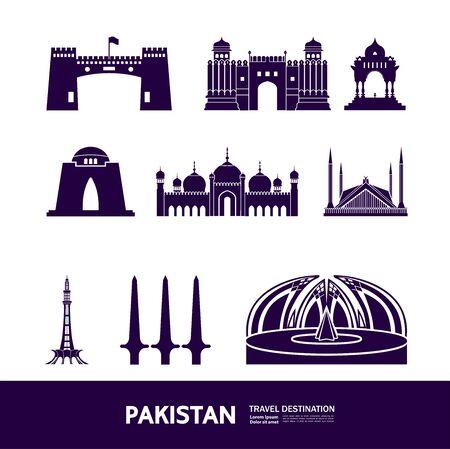 Pakistan travel destination grand vector illustration.