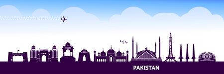 Pakistan travel destination grand vector illustration.