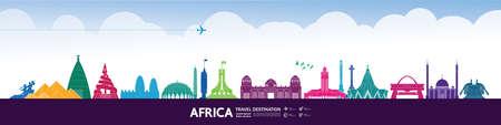 Africa travel destination grand vector illustration.