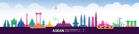 Asean travel destination grand vector illustration.