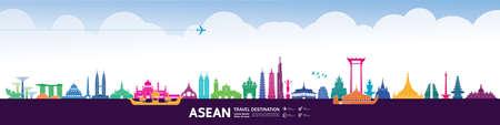 Asean travel destination grand vector illustration. Zdjęcie Seryjne - 151538588