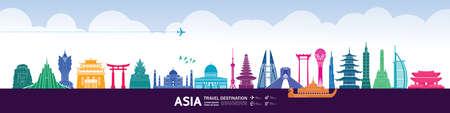 Asia travel destination grand vector illustration.