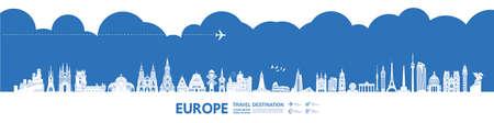Europe travel destination grand vector illustration. Vettoriali