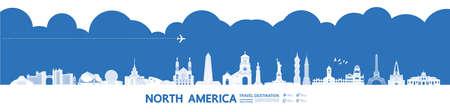 North America travel destination grand vector illustration.