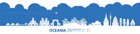 Oceania travel destination grand vector illustration. Vettoriali