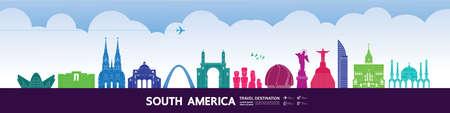 South America travel destination grand vector illustration. Vettoriali