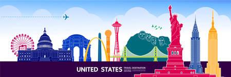 USA travel destination grand vector illustration.