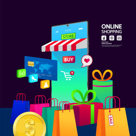 Online Shopping on Website or Mobile Application vector illustration. Vettoriali