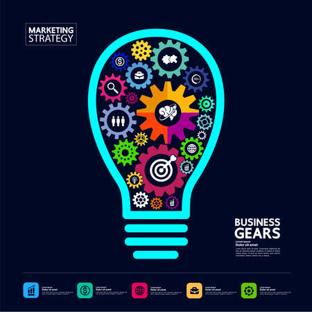 Gears creative idea set for business vector illustration. Vettoriali